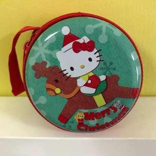 🚚 Hello Kitty Sanrio Santa Merry Christmas Coin Ear piece pouch metal container