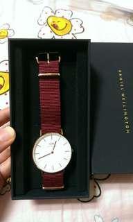 🚚 Dw 34mm玫瑰金 酒紅尼龍錶帶