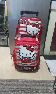Hello kitty sanrio trolley school travel bag with lunch bag
