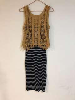 🚚 兩件式-連身橫條長裙