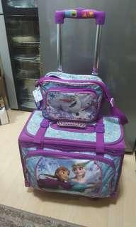 Frozen trolley travel school bag with lunch bag