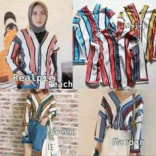 Kemeja stripes/ blouse/ top