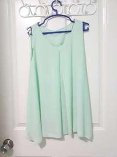 Mint Green Sleeveless Blouse
