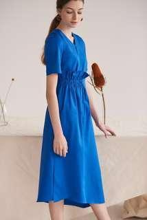 BNWT Knits Capsule V Neck Waist Gathered Maxi Dress in Blue