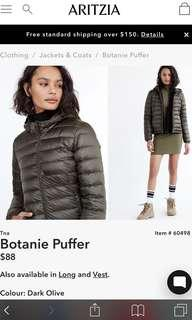 Aritzia botanie puffer jacket medium