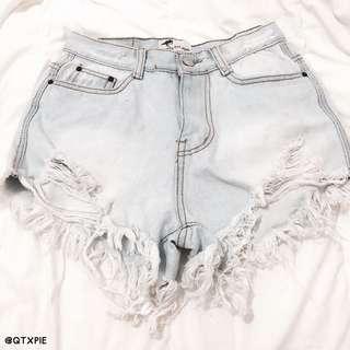 light denim ripped high waist shorts