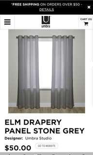 Brand new Umbra Elm Drapery / curtains