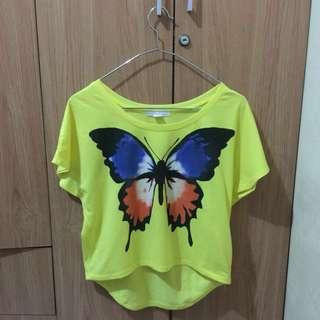 Forever 21 Yellow batwing crop top