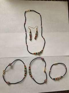 Set of necklace,bracelet, anklets and earrings