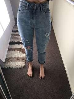 Boohoo high waist ripped jeans
