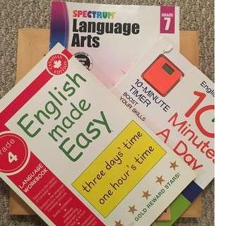 English Made Easy Level 4, English Ten Minutes a Day Level 4, Language Level 7