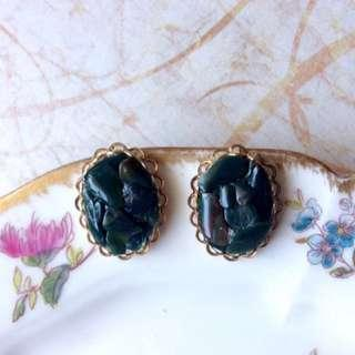 限時特價!美國古董1960年代天然礦石馬賽克拼貼典雅橢圓小栓鎖耳環
