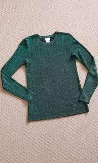 H&M Sparkly Dark Green Top
