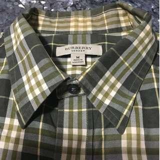 BURBERRY 經典駝綠色格紋襯衫