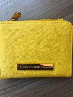 yellow coin and card holder