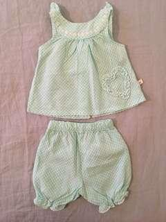 BRAND NEW Vintage Style Mint Gingham Set, with Daisy Buttons