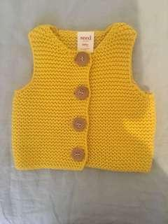 WORN ONCE Seed Yellow Knit Vest with Wooden Buttons