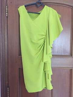 Yellow green party dress