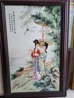 舊 瓷板 畫