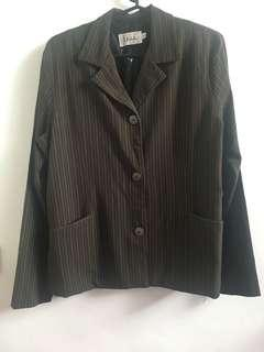 Dark Brown Striped Blazer