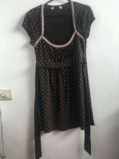 Brown Polka Dot Long Tie Back Top