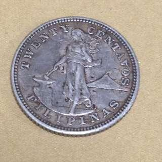 1904s Pillipinas 20 cents coin