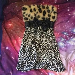 FURRY Leopard Bow Print Dress