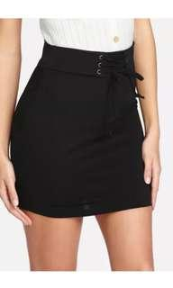 Shein lace up waist bodycon skirt
