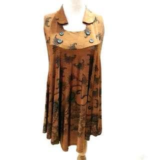 Big Size Mini Dress Neck Brown Motif Batik Blouse Tunik