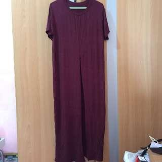Maroon long shirt with slit