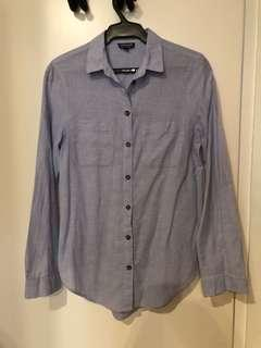 Topshop Blue Long Sleeves Top (US 2)