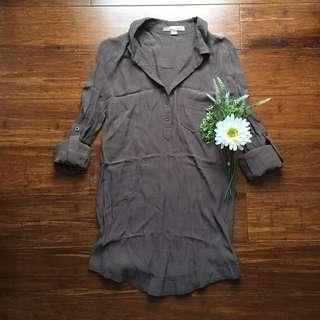 F21 Army Green Long Blouse