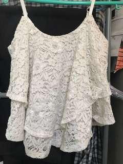 lace白色ruffle性感吊帶小背心🦄️