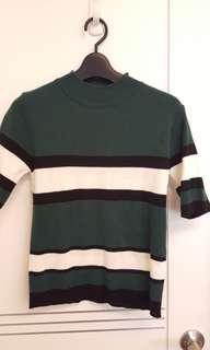日系 韓系 歐美 小高領 配色條紋合身短袖針織衫.上衣 墨綠色