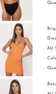 PLT bright orange mini dress XS/6