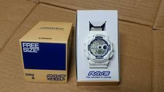 全新 Casio G-Shock 3263 GD-100 Rays Wheels 白色籃字,特別版手錶