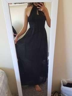 Black halter top maxi dress