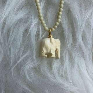 "Elephant ""ivory"" carving Necklace/ Charm"