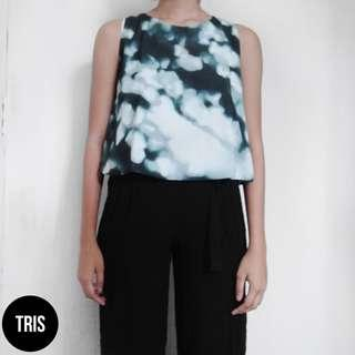 GREEN MARBLE SLEEVELESS TOP
