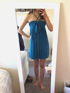 Aqua Blue pleated dress halter neck