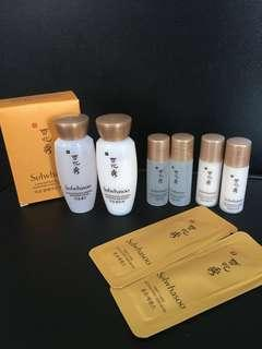*Free by post* 雪花秀 Sulwhasoo samples - renewing water 15ml + 5ml x2pcs , emulsion 15ml + 5ml x 2pcs , serum Ex 1ml x 2pcs