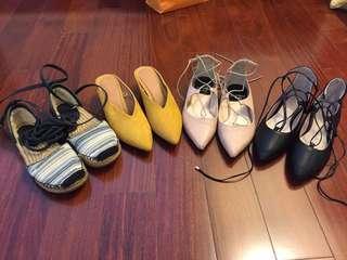 Elegant Flats Sandals pointed toe cross cross work