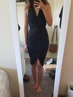Black halter v neck dress