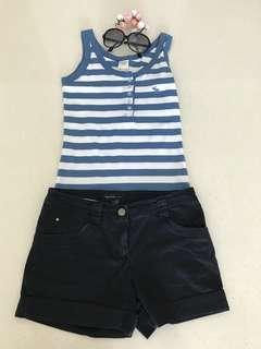 Abercrombie & Fitch Sky Blue Stripe tank top and Mango Classic Black Shorts