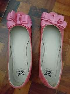 Missy Pink Bow Suede Flats