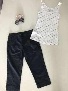 Authentic Calvin Klein Classic Black 3/4 cuff pants and H&M organic cotton Nautical Tank Top