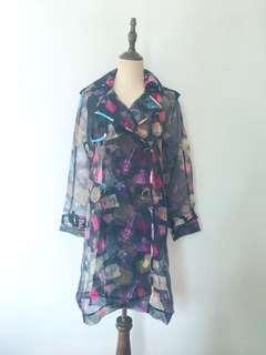 Perfume print trench coat