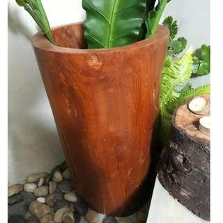 Teak Wood Vase / Umbrella Holder