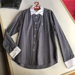 Polo Long Sleeve Shirt - Black & White Stripes