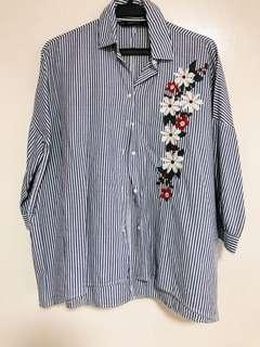 ZARA STRIPED LONG SLEEVE POLO WITH FLORAL ACCENT DESIGN